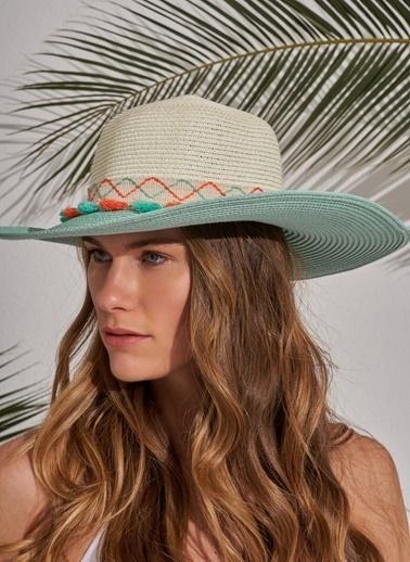 Morhipo Beach Püskül Detaylı Hasır Şapka Turkuaz
